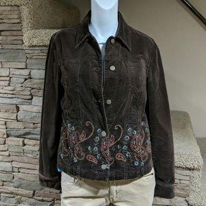 Jones New York Brown beaded jacket size small